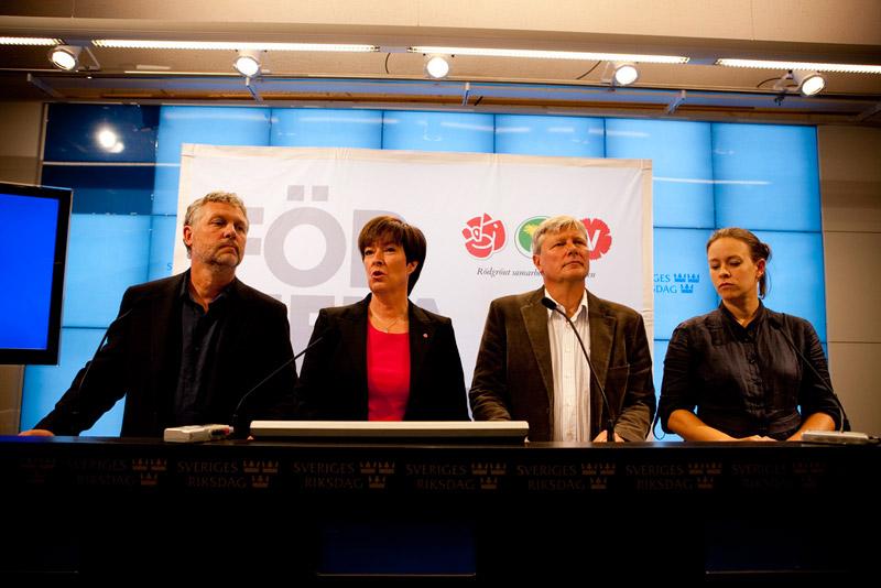 De rödgröna på en pressträff den 28 augusti. Foto: De rödgröna/Flickr.com