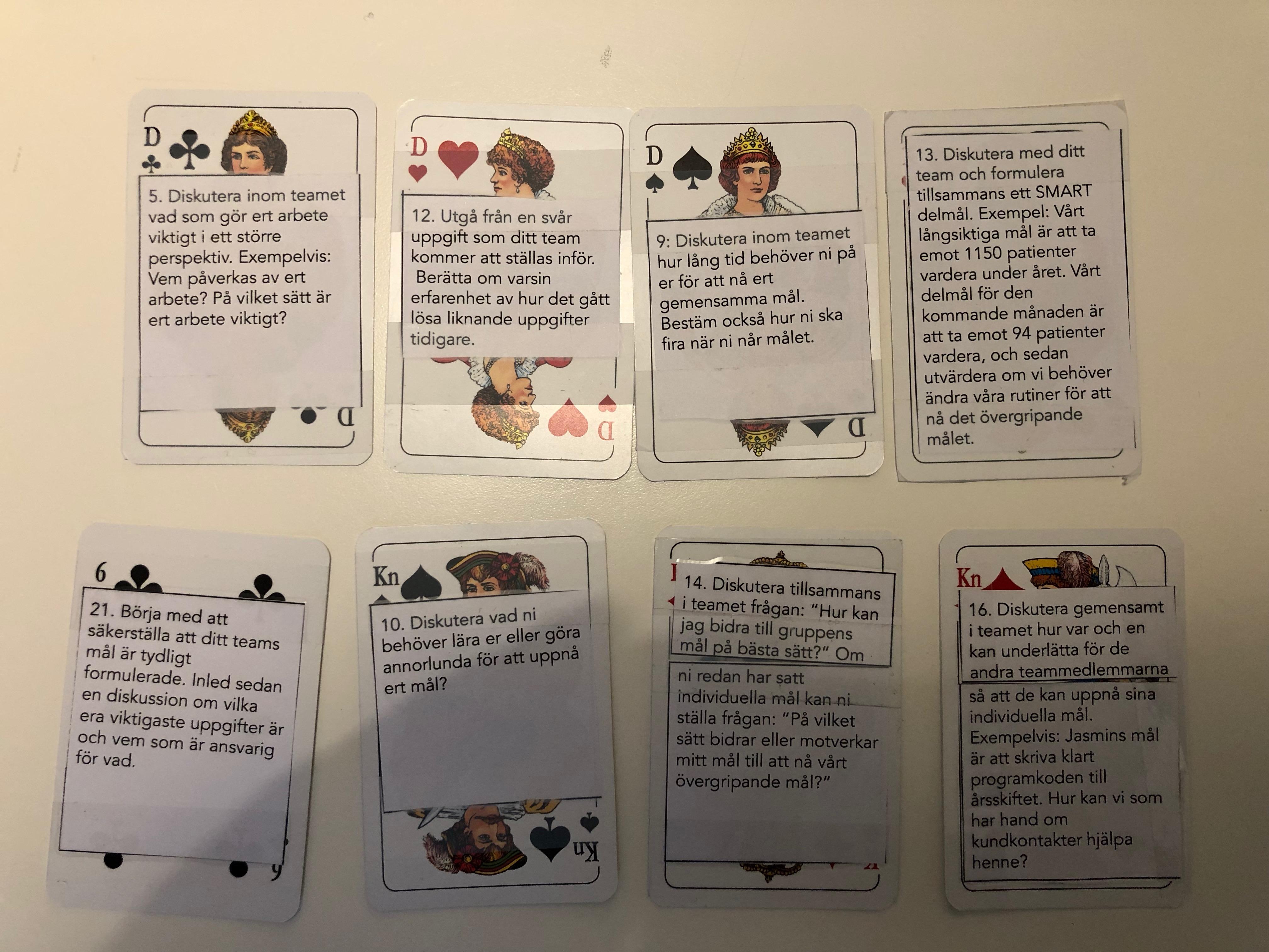 Spelkort med övningar för teamutveckling